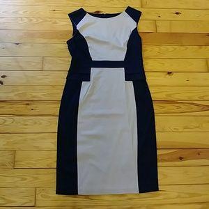 Sleaveless block colored dress.